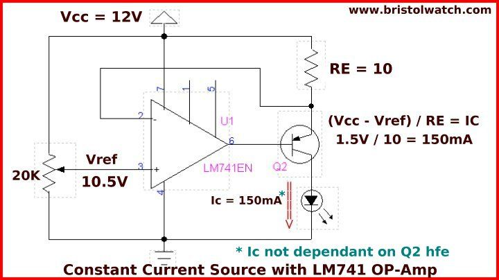Groovy Constant Current Circuit With A 741 Op Amp And A Pnp Transistor Ranpur Mohammedshrine Wiring Digital Resources Ranpurmohammedshrineorg
