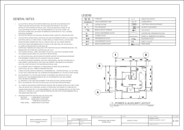 Electrical Plan General Notes Wiring Diagram Rows