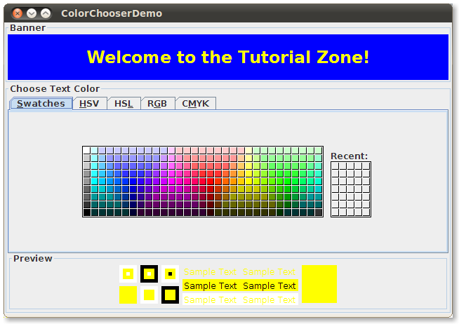 Astonishing How To Use Color Choosers The Java Tutorials Creating A Gui With Ranpur Mohammedshrine Wiring Digital Resources Ranpurmohammedshrineorg